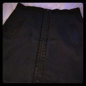 NWOT Eci Zip Up Faux Suede Skirt